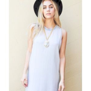 LACAUSA Sheer Gray Sleeveless Shift Dress